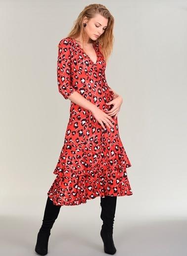 People By Fabrika Kruvaze Jarse Elbise Kırmızı